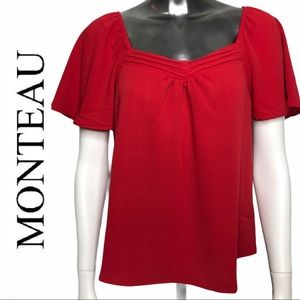 NWT Flounce Sleeve Sweetheart Neckline Red Top